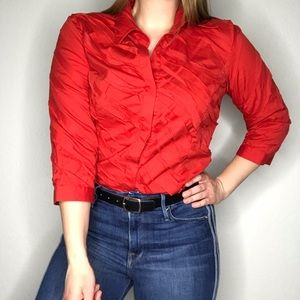 Lafayette 148 Red Ruffle Button Down Blouse Top